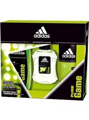 perfume Adidas Pure Game edt 100ml + Shower Gel 250ml + After Shave Balm 150ml - colonia de hombre