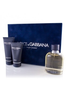perfume Dolce Gabbana Pour Homme edt 125ml + Balsamo After Shave 100ml + Gel 50ml - colonia de hombre
